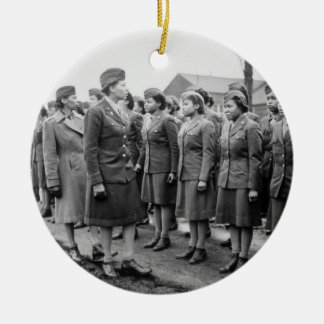 African American Office Inspects Troops Ceramic Ornament