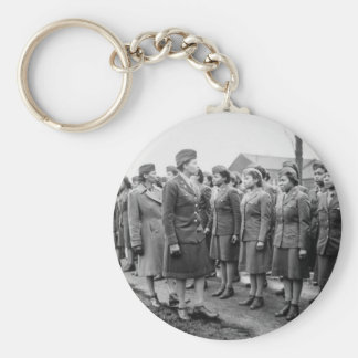 African American Office Inspects Troops Keychain