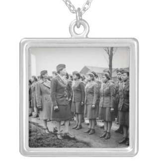 African American Office Inspects Troops Silver Plated Necklace