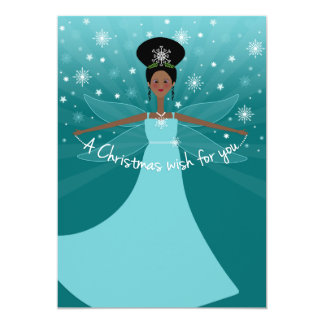 African American or Black Christmas Fairy on Teal Card
