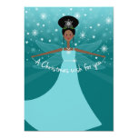 African American or Black Christmas Fairy on Teal Invite