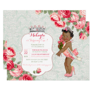 African American Pageant Princess Baby Card