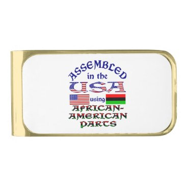 USA Themed African-American Parts Gold Finish Money Clip