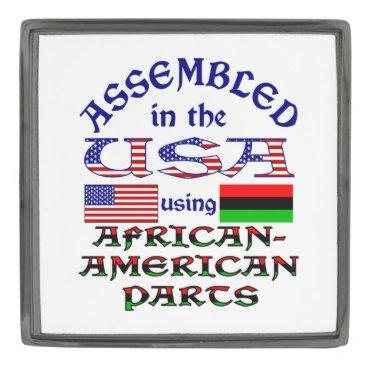 USA Themed African-American Parts Gunmetal Finish Lapel Pin