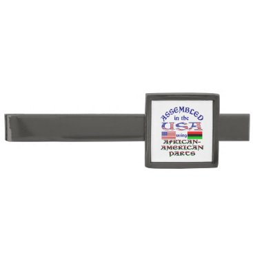 USA Themed African-American Parts Gunmetal Finish Tie Clip
