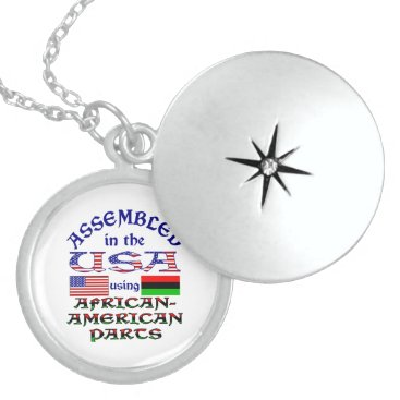 USA Themed African-American Parts Sterling Silver Necklace