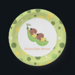 "African American Peas in a Pod Baby Shower Plates<br><div class=""desc"">These baby shower paper plates come with the illustration of two cute African American babies sleeping blissfully in a pea pod like hammock. A garden theme colour palette of green and yellow. Circles pattern for background. Will go great with your twin baby shower party.</div>"