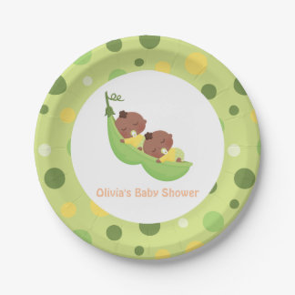 African American Peas in a Pod Baby Shower Plates