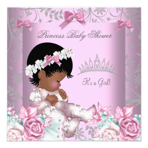 African American Pink and Gray Baby Shower Girl 3 Custom Invitation