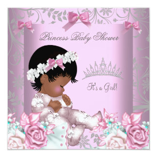"""African American Pink and Gray Baby Shower Girl 3 5.25"""" Square Invitation Card"""