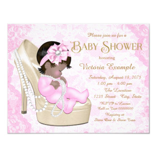 African American Pink Pearl Lace Shoe Baby Shower Card