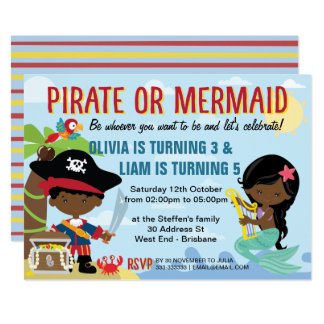 African American Pirate and Mermaid Card