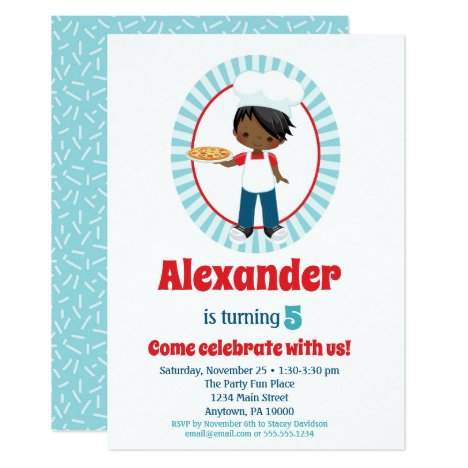 African American Pizza Party Boy - Pizza Birthday Invitation
