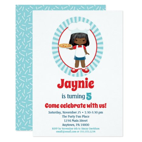 African American Pizza Party Girl - Pizza Birthday Invitation