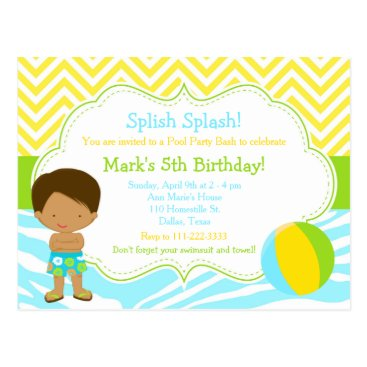 Beach Themed African American Pool Party Bash Party Postcard