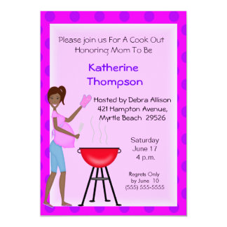 African American Pregnant Mom Cookout  Invitation