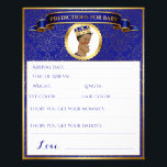 """African American Prince Advice Predictions Blue Flyer<br><div class=""""desc"""">Sweet Prince in royal blue &amp; gold with a crown. One side is Predictions for baby and the other side is Advice for the parent-to-be. Two baby shower games on one sheet! See the Royal Prince Collection for other matching items.</div>"""