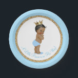 "African American Prince Baby Blue Gold Baby Shower Paper Plate<br><div class=""desc"">Prince baby shower paper plates with adorable African American ethnic prince baby boy wearing blue diaper and gold crown on a baby blue and gold background. These cute prince baby shower paper plates can be customized with text in the font style and color of your choice. You can also change...</div>"
