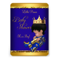 African American Prince Baby Shower Blue Gold Boy Personalized Invites