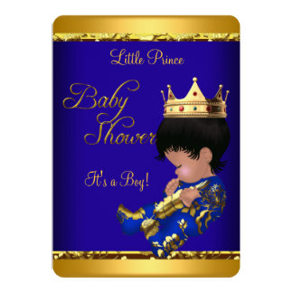 """African American Prince Baby Shower Blue Gold Boy 5"""" X 7"""" Invitation Card"""