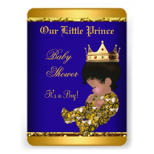 African American Prince Baby Shower Blue Gold Boy Invitations