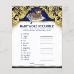 """African American Prince Baby Shower Games<br><div class=""""desc"""">African American prince baby shower games with baby word scramble on one side, and nursery rhyme quiz on the other. This royal blue and gold prince baby shower game flyer is fun and economical! You can change the questions and the words. Hand them out to your guests telling them not...</div>"""