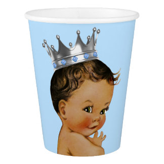 African American Prince Baby Shower Paper Cup