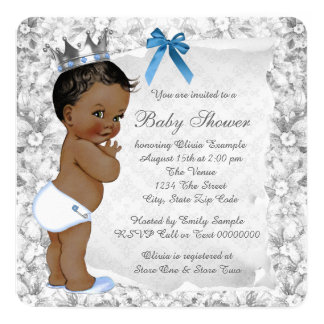 African American Prince Blue and Gray Baby Shower Card