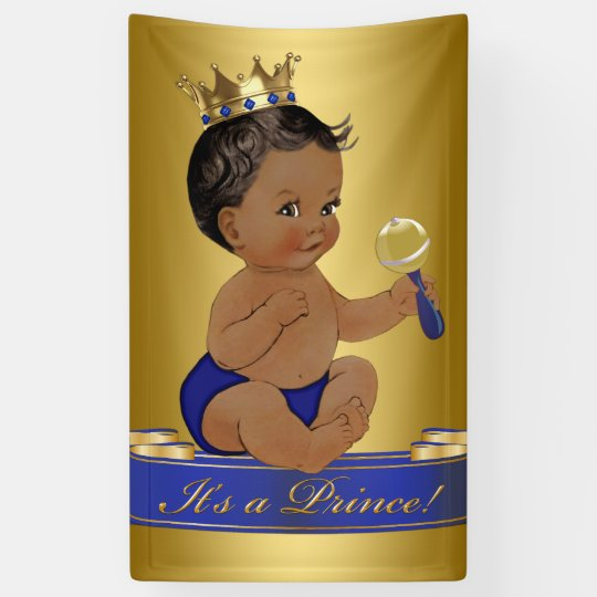 African American Prince Boy Baby Shower Banner Zazzle Com