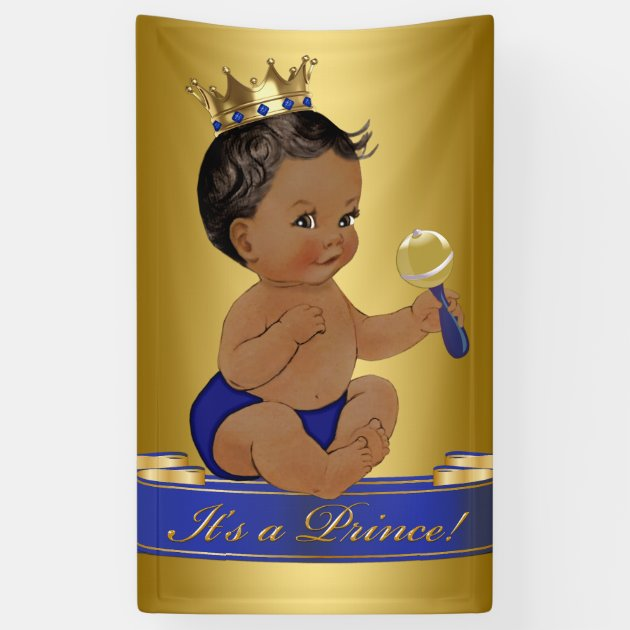 African American Prince Boy Baby Shower Banner | Zazzle.com