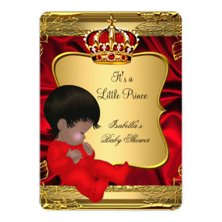 African American Prince Boy Baby Shower Red Gold Card