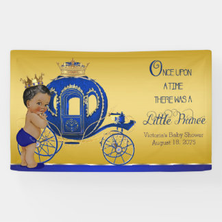 African American Prince Carriage Boy Baby Shower Banner