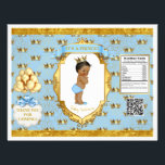 """African American Prince Light Blue Gold Chip Bag Flyer<br><div class=""""desc"""">Chip bag template. Wrap around 1 oz chip or snack bags for custom favors. Seal with double sided tape or glue gun.</div>"""