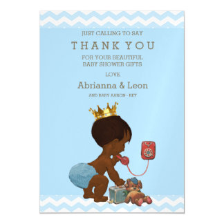 African American Prince on Phone Thank You Magnetic Card