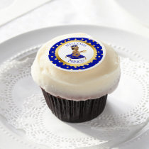 African American Prince Pillow Royal Blue Gold Edible Frosting Rounds