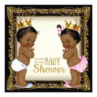 African American Prince Princess Gender Reveal Card