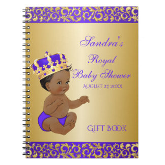 African American Prince Purple Gold Gift Guest Notebook