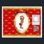 """African American Prince Red Gold Chip Bag Wrapper<br><div class=""""desc"""">Chip bag template. Wrap around 1 oz chip or snack bags for custom favors. Seal with double sided tape or glue gun.</div>"""