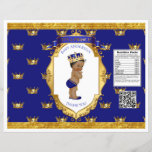 """African American Prince Royal Blue Gold Chip Bag<br><div class=""""desc"""">Chip bag template. Wrap around 1 oz chip or snack bags for custom favors. Seal with double sided tape or glue gun.</div>"""