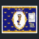 """African American Prince Royal Blue Gold Chip Bag Flyer<br><div class=""""desc"""">Chip bag template. Wrap around 1 oz chip or snack bags for custom favors. Seal with double sided tape or glue gun.</div>"""