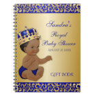 African American Prince Royal Blue Gold Gift Guest Notebook
