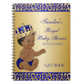 African American Prince Royal Blue Gold Gift Guest Spiral Notebook