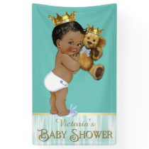 African American Prince Teddy Bear Boy Baby Shower Banner