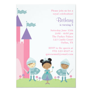 African American Princess and Knight Invitations