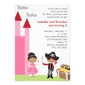 African American Princess and Pirate Invitation