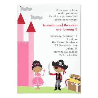 "African American Princess and Pirate Invitation 5"" X 7"" Invitation Card"