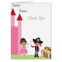 African American Princess and Pirate Note Card