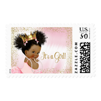 African American  Princess Baby Postage Stamps