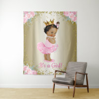 African American Princess Baby Shower Backdrop