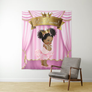Gold African American Princess Baby Shower Home Decor Furnishings